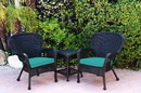 Jeco W00214_2-CES032 Windsor Black Wicker Chair And End Table Set With Turquoise Chair Cushion