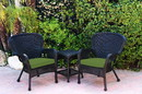 Jeco W00214_2-CES034 Windsor Black Wicker Chair And End Table Set With Hunter Green Chair Cushion