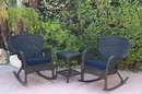 Jeco W00214_2-RCES011 Windsor Black Wicker Rocker Chair And End Table Set With Midnight Blue Chair Cushion