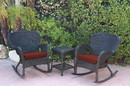 Jeco W00214_2-RCES018 Windsor Black Wicker Rocker Chair And End Table Set With Brick Red Chair Cushion