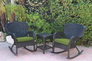 Jeco W00214_2-RCES029 Windsor Black Wicker Rocker Chair And End Table Set With Sage Green Chair Cushion