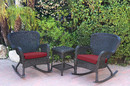 Jeco W00214_2-RCES030 Windsor Black Wicker Rocker Chair And End Table Set With Red Chair Cushion