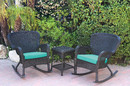 Jeco W00214_2-RCES032 Windsor Black Wicker Rocker Chair And End Table Set With Turquoise Chair Cushion