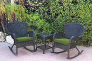 Jeco W00214_2-RCES034 Windsor Black Wicker Rocker Chair And End Table Set With Hunter Green Chair Cushion