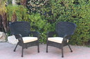 Jeco W00214-C_2-FS006 Set Of 2 Windsor Black Resin Wicker Chair With Tan Cushions