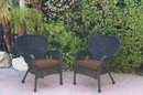 Jeco W00214-C_2-FS007 Set Of 2 Windsor Black Resin Wicker Chair With Brown Cushions