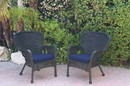 Jeco W00214-C_2-FS011 Set Of 2 Windsor Black Resin Wicker Chair With Midnight Blue Cushions