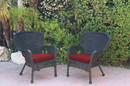 Jeco W00214-C_2-FS018 Set Of 2 Windsor Black Resin Wicker Chair With Brick Red Cushions