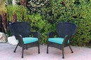 Jeco W00214-C_2-FS027 Set Of 2 Windsor Black Resin Wicker Chair With Sky Blue Cushion