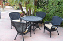 Jeco W00214-D-G-FS006 5Pc Windsor Black Wicker Dining Set - Tan Cushions