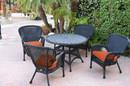 Jeco W00214-D-G-FS016 5Pc Windsor Black Wicker Dining Set - Orange Cushions