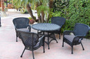 Jeco W00214-D-G-FS033 5Pc Windsor Black Wicker Dining Set - Steel Blue Cushions