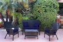 Jeco W00214-G-FS011 4Pc Windsor Black Wicker Conversation Set - Midnight Blue Cushions