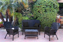 Jeco W00214-G-FS017 4Pc Windsor Black Wicker Conversation Set - Black Cushions