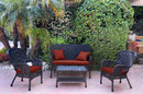 Jeco W00214-G-FS018 4Pc Windsor Black Wicker Conversation Set - Brick Red Cushions