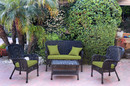 Jeco W00214-G-FS029 4Pc Windsor Black Wicker Conversation Set - Sage Green Cushions