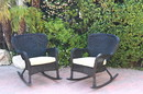 Jeco W00214-R_2-FS006 Set Of 2 Windsor Black Resin Wicker Rocker Chair With Tan Cushions