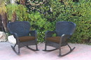 Jeco W00214-R_2-FS007 Set Of 2 Windsor Black Resin Wicker Rocker Chair With Brown Cushions