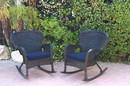 Jeco W00214-R_2-FS011 Set Of 2 Windsor Black Resin Wicker Rocker Chair With Midnight Blue Cushions