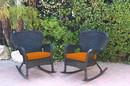 Jeco W00214-R_2-FS016 Set Of 2 Windsor Black Resin Wicker Rocker Chair With Orange Cushions