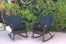 Jeco W00214-R_2-FS017 Set Of 2 Windsor Black Resin Wicker Rocker Chair With Black Cushions