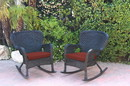 Jeco W00214-R_2-FS018 Set Of 2 Windsor Black Resin Wicker Rocker Chair With Brick Red Cushions