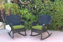 Jeco W00214-R_2-FS029 Set Of 2 Windsor Black Resin Wicker Rocker Chair With Sage Green Cushions