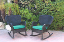 Jeco W00214-R_2-FS032 Set Of 2 Windsor Black Resin Wicker Rocker Chair With Turquoise Cushions