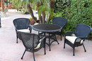 Jeco W00214F-D-G-FS001 5Pc Windsor Black Wicker Dining Set With Faux Wood Top And 3