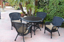 Jeco W00214F-D-G-FS006 5Pc Windsor Black Wicker Dining Set With Faux Wood Top And 3