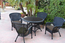 Jeco W00214F-D-G-FS007 5Pc Windsor Black Wicker Dining Set With Faux Wood Top And 3