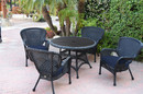 Jeco W00214F-D-G-FS011 5Pc Windsor Black Wicker Dining Set With Faux Wood Top And 3