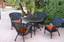 Jeco W00214F-D-G-FS016 5Pc Windsor Black Wicker Dining Set With Faux Wood Top And 3