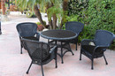 Jeco W00214F-D-G-FS017 5Pc Windsor Black Wicker Dining Set With Faux Wood Top And 3