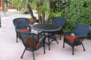 Jeco W00214F-D-G-FS018 5Pc Windsor Black Wicker Dining Set With Faux Wood Top And 3