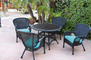 Jeco W00214F-D-G-FS027 5Pc Windsor Black Wicker Dining Set With Faux Wood Top And 3