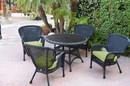 Jeco W00214F-D-G-FS029 5Pc Windsor Black Wicker Dining Set With Faux Wood Top And 3