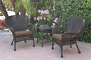 Jeco W00215_2-CES007 Windsor Espresso Wicker Chair And End Table Set With Brown Chair Cushion
