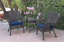 Jeco W00215_2-CES011 Windsor Espresso Wicker Chair And End Table Set With Midnight Blue Chair Cushion