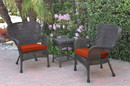 Jeco W00215_2-CES018 Windsor Espresso Wicker Chair And End Table Set With Brick Red Chair Cushion