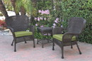 Jeco W00215_2-CES029 Windsor Espresso Wicker Chair And End Table Set With Sage Green Chair Cushion