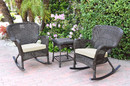 Jeco W00215_2-RCES001 Windsor Espresso Wicker Rocker Chair And End Table Set With Ivory Chair Cushion