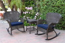 Jeco W00215_2-RCES011 Windsor Espresso Wicker Rocker Chair And End Table Set With Midnight Blue Chair Cushion