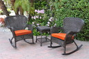 Jeco W00215_2-RCES016 Windsor Espresso Wicker Rocker Chair And End Table Set With Orange Chair Cushion
