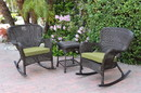Jeco W00215_2-RCES029 Windsor Espresso Wicker Rocker Chair And End Table Set With Sage Green Chair Cushion
