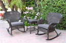 Jeco W00215_2-RCES033 Windsor Espresso Wicker Rocker Chair And End Table Set With Steel Blue Chair Cushion