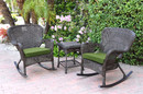 Jeco W00215_2-RCES034 Windsor Espresso Wicker Rocker Chair And End Table Set With Hunter Green Chair Cushion