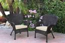 Jeco W00215-C_2-FS001 Set Of 2 Windsor Espresso Resin Wicker Chair With Ivory Cushion