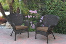 Jeco W00215-C_2-FS007 Set Of 2 Windsor Espresso Resin Wicker Chair With Brown Cushions