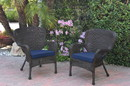Jeco W00215-C_2-FS011 Set Of 2 Windsor Espresso Resin Wicker Chair With Midnight Blue Cushions